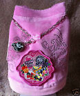Candy Patch Pink Velour Dog Jacket Coat + Logo Charm & Charm Chain Necklace