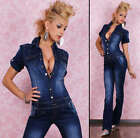 Sexy Denim overalls BIB Jumpsuit with destoyed Look Size 6-14