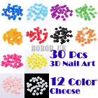 30 ACRYLIC 3D FLOWER RHINESTONES SLICES NAIL ART TIPS DIY DECORATIONS