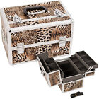 Makeup Train Case Holder Organizer 3 tray Dot Croc Zebra M4002 Shoulder