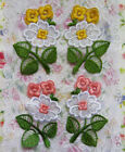 "4 Pcs Peach / Yellow Flower Embroidery Lace Appliques-2""(W)-Color Choice-E010"
