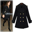 Womens Double Breasted Military Wool Coat Jacket Black Size C0085#