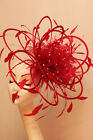 NEW Red Rhinestone Diamante Fascinator Hat Choose any colour Satin or Feather