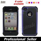 6 Color- 3 Layers Hybrid Silicone Hard TPU Gel Case Cover For iPhone 4 4th 4G 4S
