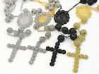 NEW MENS CATHOLIC GOLD FINISH 26+8 IN CZ FLORAL/ BEAD BALL ROSARY NECKLACE CHAIN