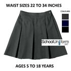 ZECO GIRLS LADIES STITCHED DOWN BOX PLEAT SCHOOL SKIRT W 22-34in GREY NAVY BLACK