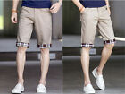 Mens turned up plaid Shorts plaid decorated pockets Casual short pants