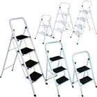 FOLDABLE 2, 3 & 4 STEP LADDER NON SLIP TREAD STEPLADDER SAFETY ALUMINIUM KITCHEN