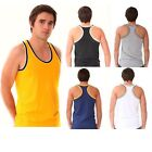 6 x Mens Coloured 100% Cotton Fitted Ultra Rib Muscle Gym Top Vest Singlets