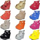 WOMENS LADIES PLATFORM HIGH HEEL WEDGE SHOES STRAPPY SANDALS SIZE 3-8