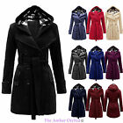 NEW LADIES BELTED BUTTON COAT WOMENS HOODED JACKET PLUS SIZES 16 18 20