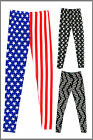 Womens Printed Leggings Full Length USA Peace YIng & Yang Ladies Brand New