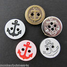 7 - Novelty Buttons - round - Anchor - Nautical - Kids - Knitting/Sewing/Cards