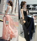 P10 Wide Legs Lined Chiffon Pants Trousers Long Skirt Pink / Dark Bule UK6 8 10