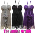 NEW LADIES WOMENS HALTERNECK RUFFLE FRILL FRONT DIAMANTE BRA CUP DRESS SIZE 8-14