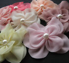 40/8pcs Upick Organza Ribbon Flower Appliques bows wedding Sewing Big flower E46