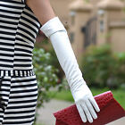 "50cm(19.6"")long plain leather evening/eblow gloves* white"