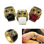 2012 New Antique Punk Gold Tone Night Owl Pattern Enamel Bracelet Bangle