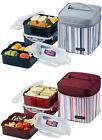Lock & Lock Bento Square Lunch Box 3-Piece Set with Insulated Stripe Bag HPL823D
