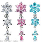 Reverse Triple Flower CZ Gem Dangle Belly Ring Navel Naval Clear, PInk, Aqua