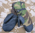 NEW DUTCH ARMY SURPLUS MILITARY COLD WEATHER DPM SKI MITTS,BLACK LEATHER PALMS
