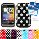 Polka Dots Soft Silicone Gel Case Cover For Htc Wildfire S Free Screen Protector
