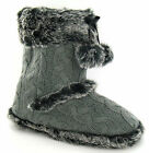 LADIES / TEENAGE GIRLS GREY KNITTED  FUR TRIMMED SLIPPER BOOTS X2037