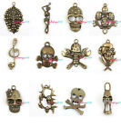 Free Shipping Assorted Styles Vintage Bronze Skull Charms 3-55pcs To Pick