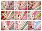 8x FQ Bundle Retro Shabby Chic Floral Dot PINK Blue Green Red Pure Cotton Fabric