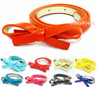 Woman's ladies Candy Colour PU Leather Thin Skinny Butterfly Bowknot waist Belt