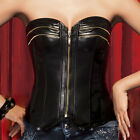 COOL Shaper ZIP Corset Bustier BLACK Faux LEATHER TOPS NEW Plus SZ S M L XL 2XL