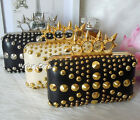 New Spike Metallic Rivet Ring Knuckle Purse Stud Clutch Wallet Evening Handbag
