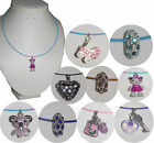 Diamante Charm Wire Necklace Teddy Handbag Pram Heart Pink Aqua Black or White
