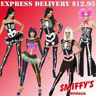 ADULT WOMENS SKELETON HALLOWEEN SKULL BONES OUTFIT SMIFFYS FANCY DRESS COSTUMES