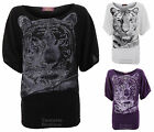 Ladies Tiger Print Glittered Batwing Knitted Half Sleeves Baggy Womens Top 8-14