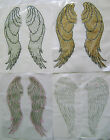 "RELIGION / ANGEL WINGS 14"" LONG RHINESTONE IRON ON APPLIQUE / HOT FIX TRANSFER"