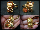 SOLID METAL GOLD CHINESE ORIENTAL GOOD LUCK CAT MOUSE FENGSHUI KEYRING GIFT IDEA