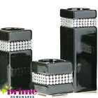 CANDLE HOLDER RADIANCE BLACK WITH DIAMANTE BAND 3 SIZES SMALL MEDIUM OR LARGE
