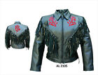 Black Leather Motorcycle Jacket Fringe, Red Roses Side Lace Ladies Womens