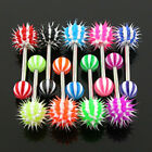 One Barbell with Candy Stripe Silicone Spikey Koosh Balls