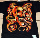 Orange Skull and Snake Skeletons BLACK Adult Shirt