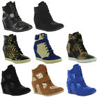 New Ladies Velcro Strap High Top Ankle Sneakers Wedge Shoes Sizes UK 3 4 5 6 7 8