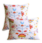 AL68a Colorful Flowers Bird Cotton Canvas Cushion Cover/Pillow Case*Custom Size*