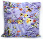 AL117a Lt.Green Yellow Lt.Purple Tropical Fish Cotton Canvas Cushion/Pillow Case