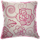 UF25a Fuschia Pink Rose Ivory Velvet Style Cushion Cover/Pillow Case Custom Size