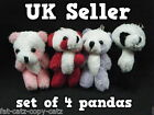 "SET OF 4 DOLLS HOUSE SMALL TINY JOINTED TEDDY BEAR PANDA CRAFT GIFT IDEA 3"" TALL"