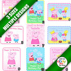 Peppa Pig Edible Icing Sheet Picture Image Personalised Cake Topper Rectangle a
