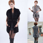 Womens Real knit Farms Rabbit Fur Jacket Sweater Vest/Waistcoats wraps shawl Top