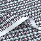 100% cotton BLACK ivory floral Fine double STRIPES craft bunting quilting fabric
