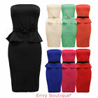 WOMENS LADIES BOOBTUBE BELTED BANDEAU PEPLUM FRILL BODYCON MINI DRESS SIZE 8-14